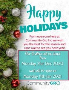 communitygro christmas closure
